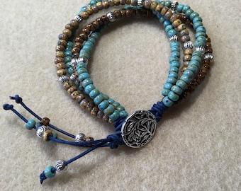Single wrap seed bead and leather bracelet