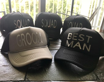 b0c543a8 Bachelor hats, wedding party, squad, groom, best man
