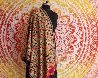 Black New Fashion Hand Embroidered Pashmina Shawl Indian Cashmere Warm Neck Wrap Indian Multi Colourful Soft  Women's Stole