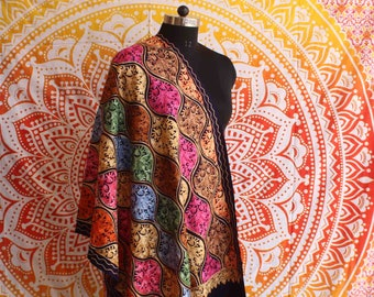 New Fashion Hand Embroidered Pashmina Shawl Indian Cashmere Warm Neck Wrap Indian Multi Colourful Soft  Women's Stole