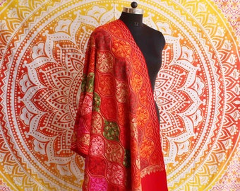 Red New Fashion Hand Embroidered Pashmina Shawl Indian Cashmere Warm Neck Wrap Indian Multi Colourful Soft  Women's Stole