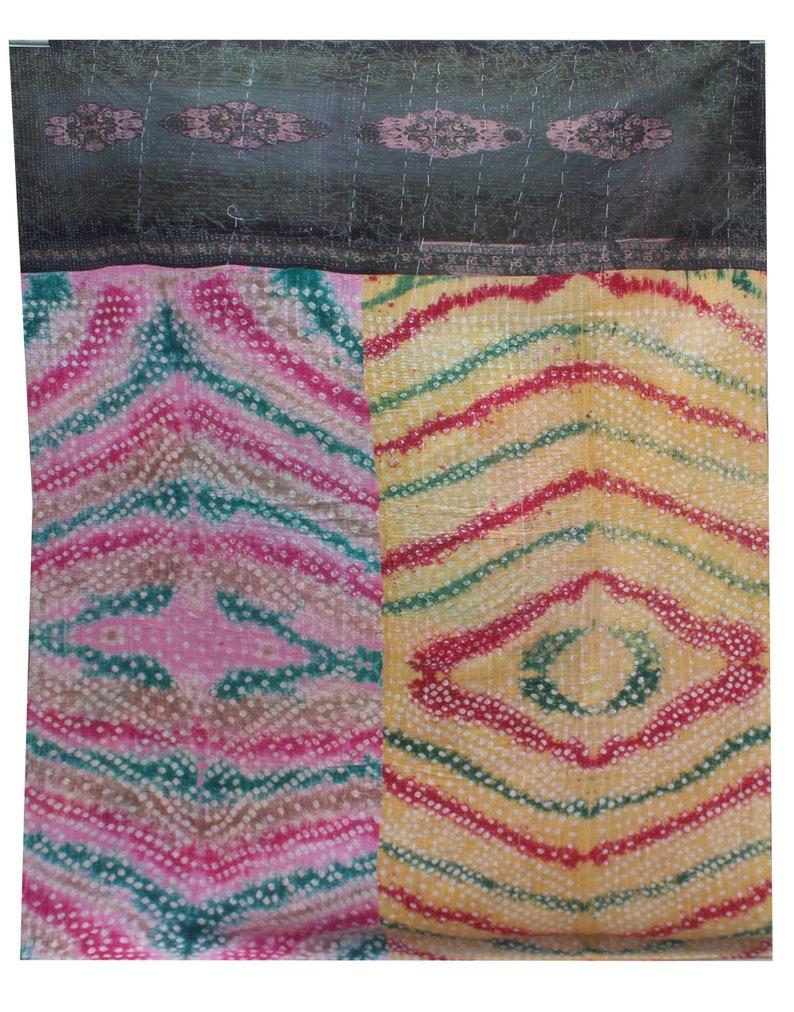 Indian Kantha Quilt Floral Design Kantha Blanket Colorful Handmade Sari Patchwork Kantha Throw Bohemian Twin Size Kantha Bedspread
