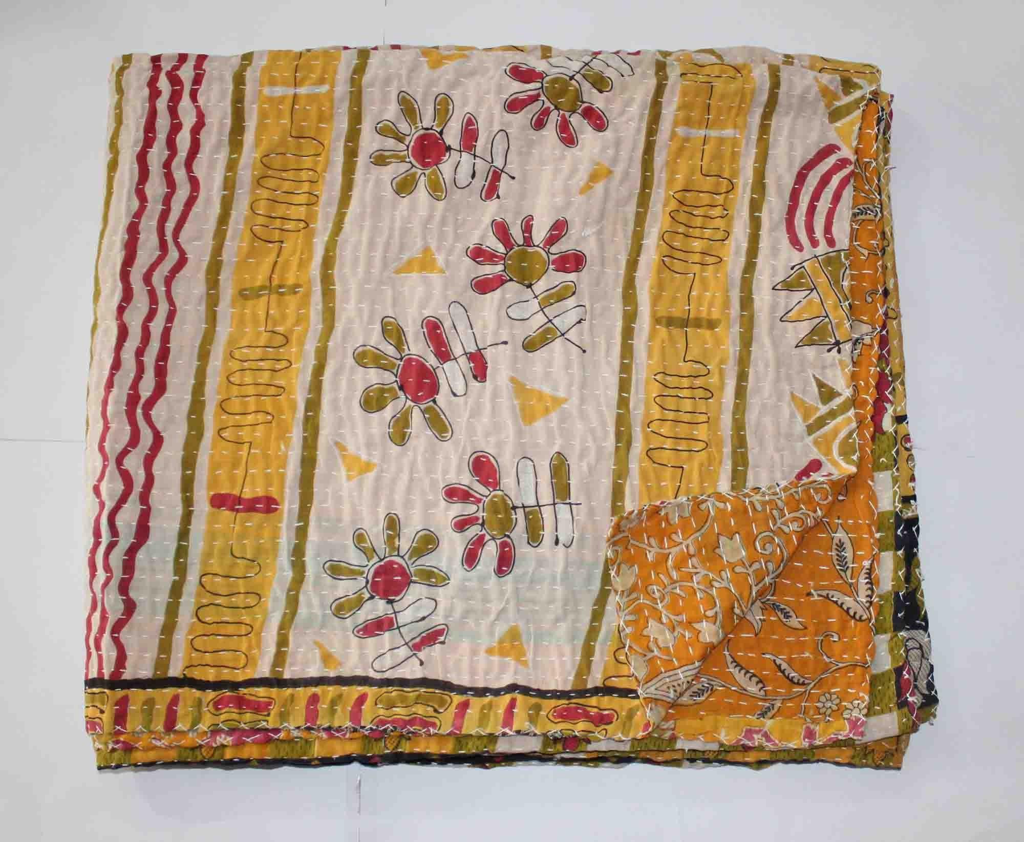 Vintage Patchwork Kantha Bedspread Indian Handmade Quilt Throw Cotton Blanket