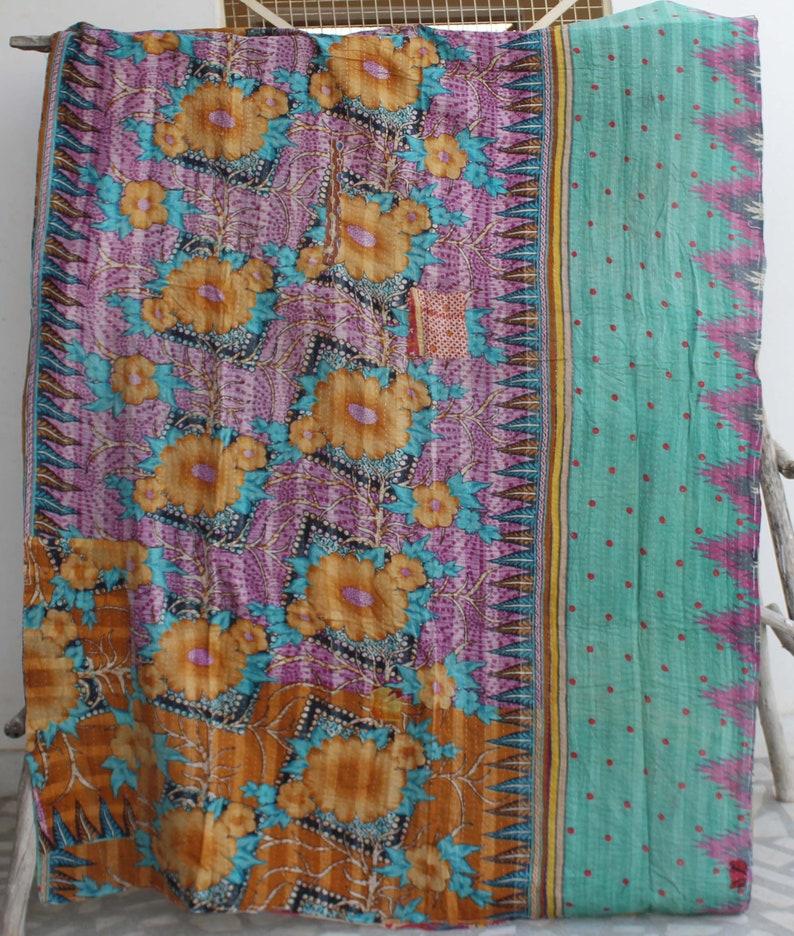 Indian Kantha Blanket Handmade Reversible Kantha Throw Cotton Sari Kantha Bedspread Bohemian Bed Cover Vintage Cotton Kantha Quilt
