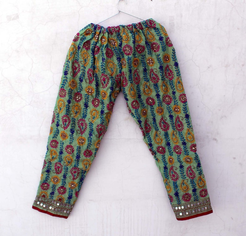 Hand Embroidered Phulkari Pant Handmade Cotton Summer Pant Colorful Embroidery Thread Work Palazzo Pant Girl/'s Casual Pant Party Wear Pant