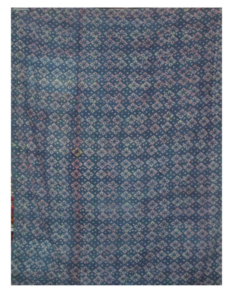 Handmade Indigo Kantha Quilt Vintage Cotton Sari Kantha Throw Reversible Indigo Kantha Bedspread Block Print Kantha Blanket Kantha Bed Cover