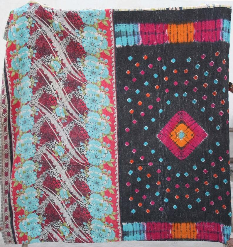Bohemian Kantha Bedspread Hand Stitched Kantha Quilt  Handmade Sari Kantha Blanket Floral Design Reversible Kantha Throw Indian Cotton Gudri