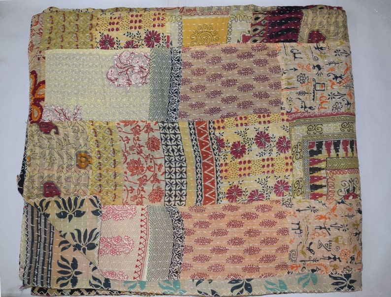 Quilts, Bedspreads & Coverlets Bedding Handmade Cotton Kantha Quilt Reversible Blanket Queen Size Throw Bed Spread Sari