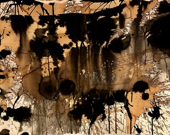 Bombshell - abstract, ink & coffee on cardstock, frame included, made to order