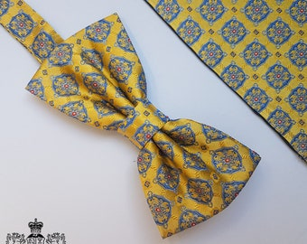 Gold and Blue Woven Silk Bow Tie and Pocket Square