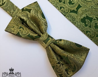 Green and Gold Woven Silk Bow Tie and Pocket Square