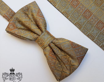 Gold and Silver Woven Silk Bow Tie and Pocket Square
