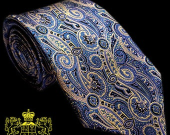 Blue and Gold Paisley Silk Tie
