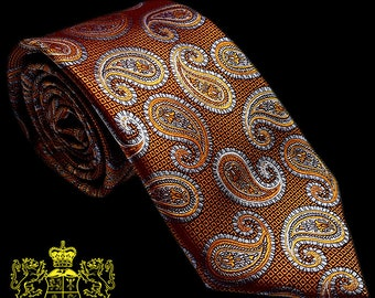 Bronze and Silver Paisley Silk Tie