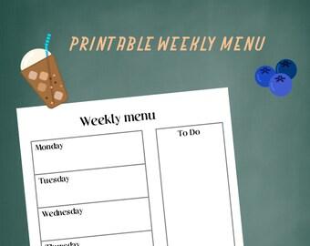 Printable Weekly Menu PDF, PNG