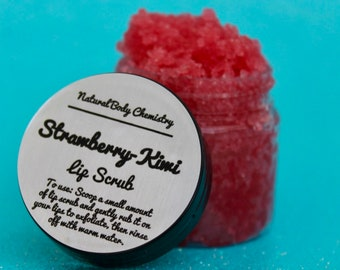 Strawberry Kiwi Lip Scrub - Sugar Scrub, Body Scrub, Lip Scrub, Organic, Natural, Hand Crafted, Coconut Oil, Strawberry, Kiwi, Edible