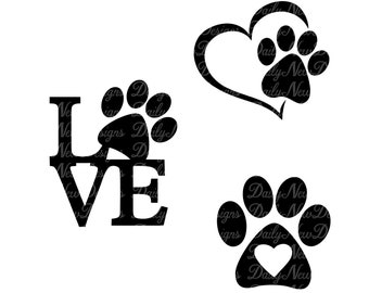 Paw Heart Svg Etsy
