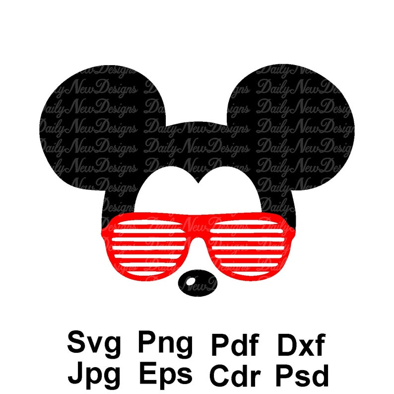 Micky Maus Coole Brille Svg Disney Mickey Mouse Gesicht Svg Esp Dxf Png Jpeg Format Cricut Silhouette Mickey Mouse Sofort Download