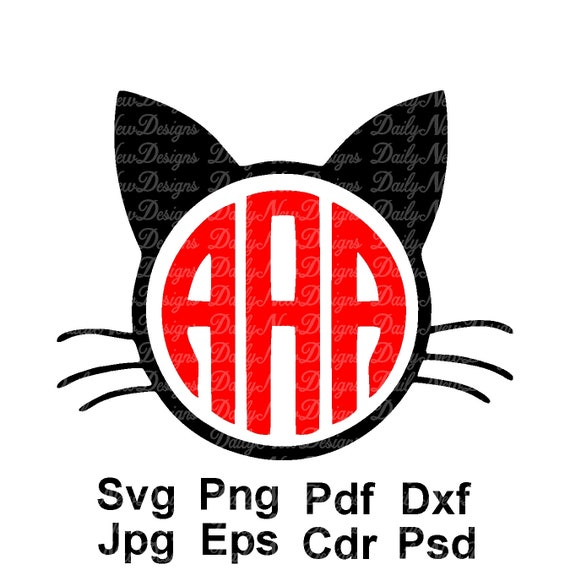 Cat Monogram Svg Kitty Monogram Cat Face Monogram Frame Etsy