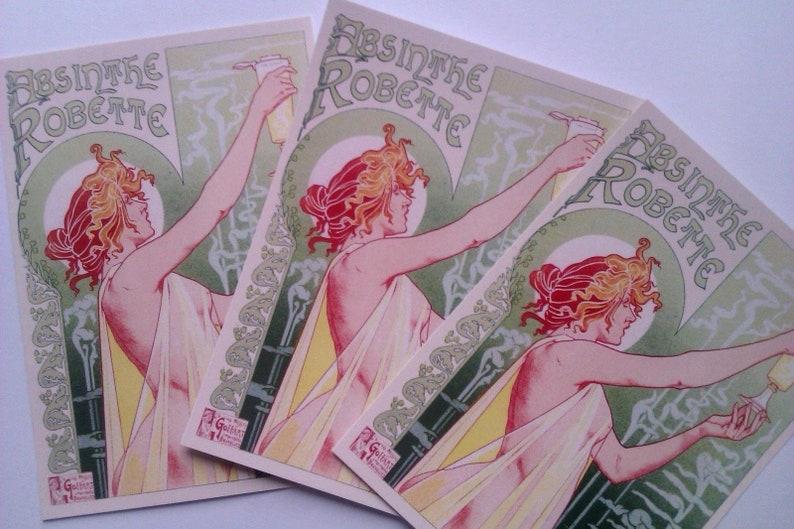 5 ART NOUVEAU /'Absinthe Robette/' erotic lithograph reproduction POSTCARDS La Belle Epoche risqu\u00e9 alcohol advertisement Privat Livemont 1896