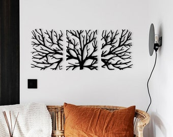 Lovely Trees Metal Wall Decor Tree Of Life Set Of Wall Hanging Trees Decoration  Steel Living Room Office Art Set Of 3 Pieces Tree Decor Living Room