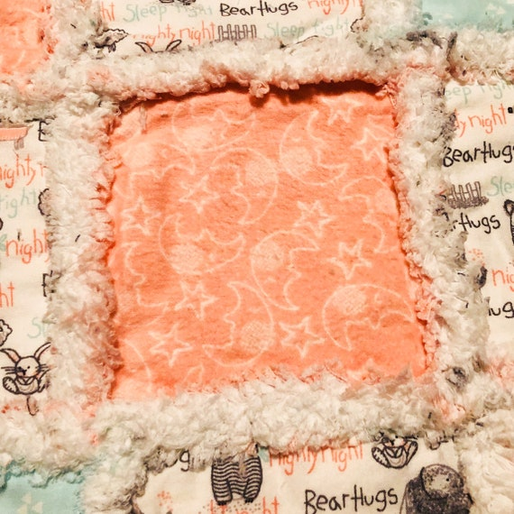 Crib size baby rag quilt woodland animals in delightful shades of peach mint gray white