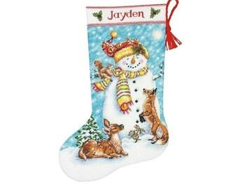 Winter vrienden kous/geborduurde Christmas Stocking/borduurwerk bestellen/cross stitch patroon