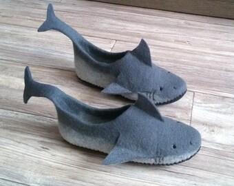 """Felted Slippers """"Sharks"""""""