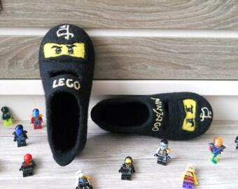 "Felted Slippers ""LEGO Ninjago"""