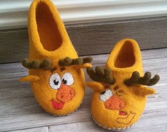 """Felted Slippers """"Moose"""""""