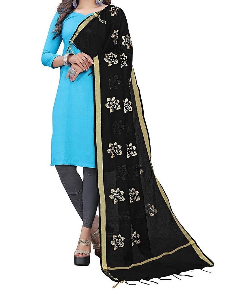 Designer New Chanderi Embroidery Work Dupatta for Girls Women/'s Color /_ Black /& Gold/_  2.25 Meter