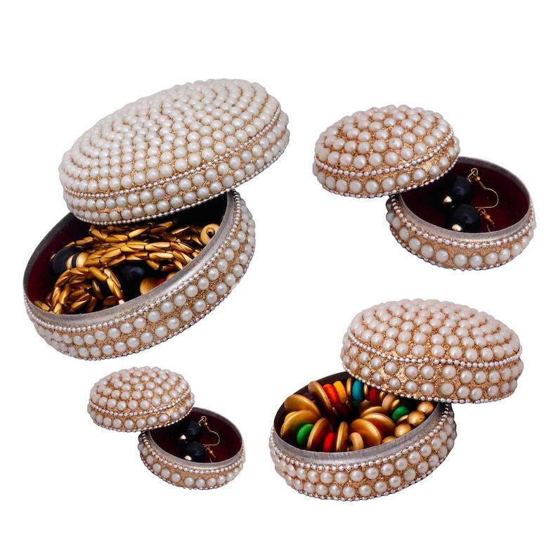 Handmade Box Metal /& Pearl Stued Set of Jewellery Box-212
