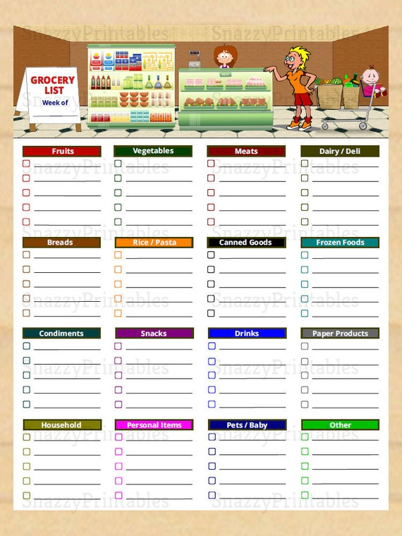 Printable Grocery Lists | Printable Grocery List With Categories Grocery Shopping List Etsy