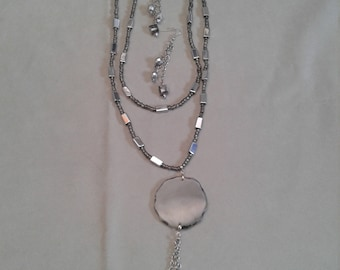 chains and mirror pendant necklace