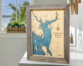 Charlotte Harbor Topographic Nautical Map Wall Art, Carved 3D Wood Map, Unique Personalized Gifts, Coastal Decor, Punta Gorda Nautical Decor