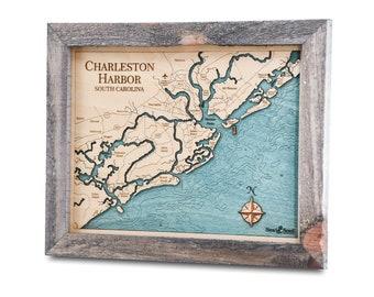 Charleston 3D Nautical Wood Map Wall Art, James Island Carved Depth Chart, Johns Island Personalized Gifts, Coastal Décor, Nautical Decor