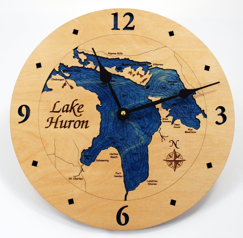 Lake Huron Wall Clock. Michigan. Nautical Clock. Nautical | Etsy