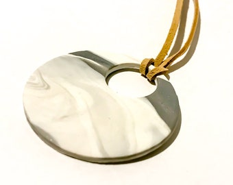 White Grey Marble Necklace/Choker