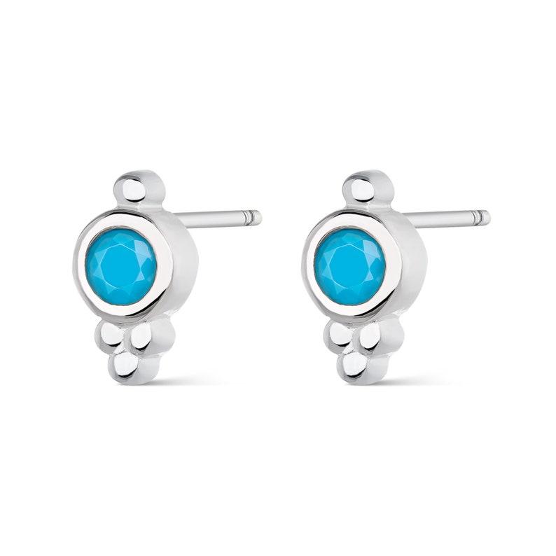 Tiny stud earrings Gold bar earrings Gift for her Minimalist earrings Sterling Silver Turquoise earrings Gold stud earrings