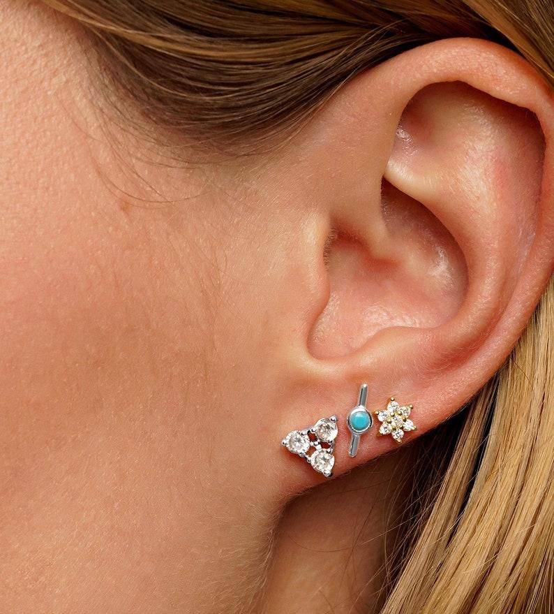 Tiny stud earrings Gift for her Minimalist earrings Turquoise earrings Silver stud earrings Sterling Silver Silver bar earrings
