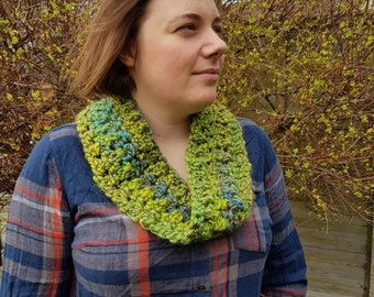 Mermaid Hair green luxury hand-crocheted cowl, crochet scarf, collar, vegan knitwear, cruelty-free, spring, made in Kent, ready to ship