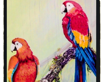 "Acrylic painting ""Macaws"" birds, tropical, parrots, macaws"