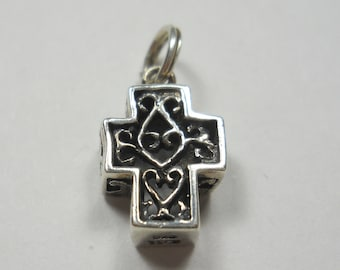 Little Box Cross With Swirls Sterling Silver Charm