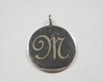 """Engraved """"M"""" Disk Sterling Silver Charm"""
