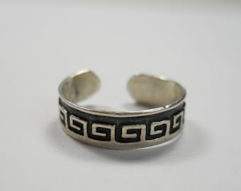 Mexico Tribal Squared Swirls Sterling Silver Ring, 925,Sterling,Mexico,Trial,Squared,Design,Size 6