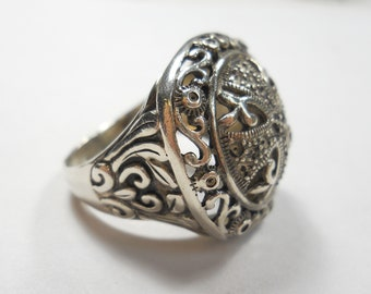 Vintage Cross And Swirls Sterling Silver Ring