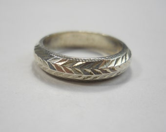 Simple Etched Lines Band Sterling Silver Ring