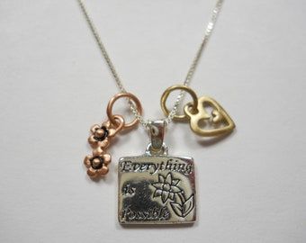 Everything Is Possible Two Flowers And Heart Charms Sterling Silver Necklace, 925,Sterling,Silver,Brass,Charms,Girly,Motivation,Necklace