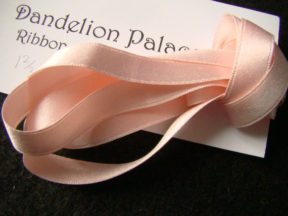 LIGHT PINK COLOUR ONE METRE OF SOFT SILK RIBBON 4 MM WIDE