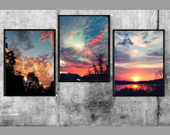 Colorful sunset set of 3 Photos/colorful sunset